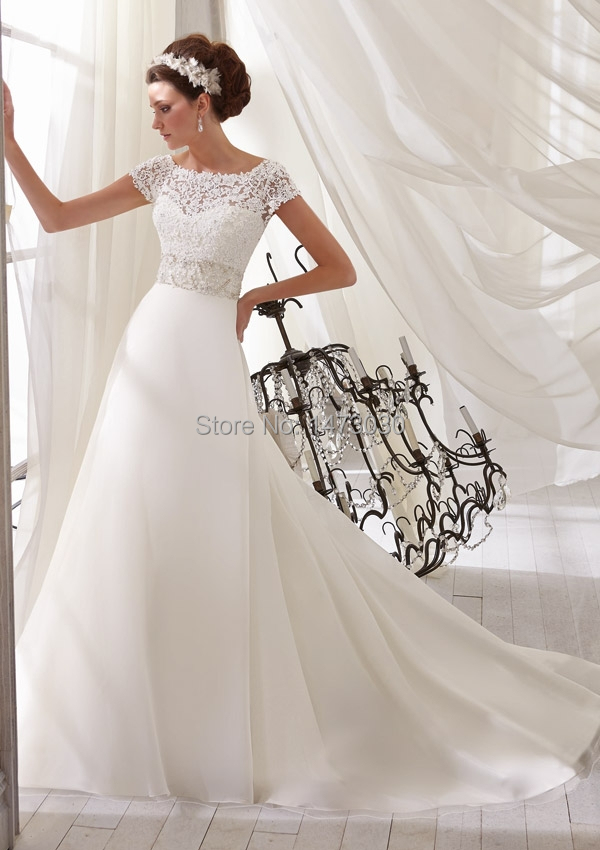 Newest Wedding Dress Spring With Lace Top Short Sleeves Factory 141 In Dresses From Weddings Events On Aliexpress Alibaba