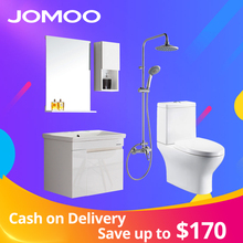 JOMOO Bathroom Furniture with mirror locker self-glazing basin PVC material Modern style bathroom cabinet toilet bow