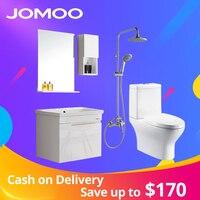 JOMOO Bathroom Vanities with mirror locker self glazing basin towel toilet PVC material Modern style bathroom cabinet toilet bow