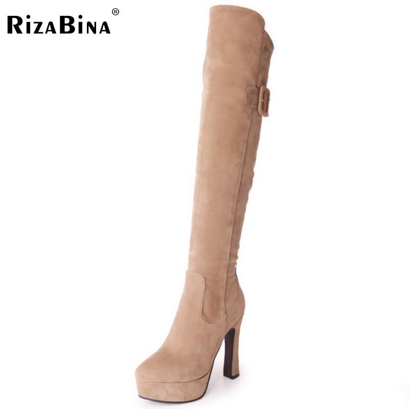 ФОТО RizaBina women round toe high heel over knee boot zipper winter warm long boot platform footwear heels shoes P21795 size 32-43