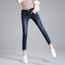Fashion Classic Skinny Jeans Women Casual Mid Waist Washed Scratched Straight Denim Pants Plus Size Slim