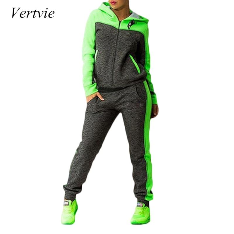 Vertvie Fitness Women Yoga Set Autumn Color Patchwork Hooded Sweater+Pant Sports Women Suit Athleisure Set 2 Piece Tractsuit XL
