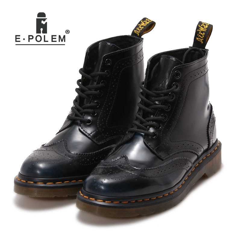 E.POLEM Wiping Dark Blue Unisex Boots Black Martin Boot Girls Floral Brogue Boots Ladies Women Square E Head Booties Ankle Shoes brogue boots two tone