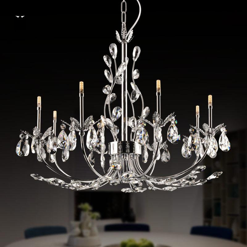 8 12 24 Lights Chrome Iron Branch Crystal Chandelier Fixture Contemporary Luxury Big Art Deco Hanging Pendant Lamp Re Design In Chandeliers From