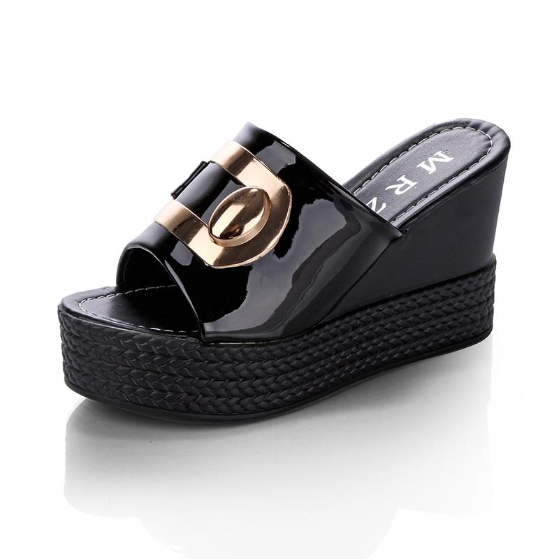 HTB1Z8njjYZnBKNjSZFGq6zt3FXaj 2018 Summer New style Arrived Sexy Platform Wedges Sandals Women Fashion High Heels Female Slippers a634