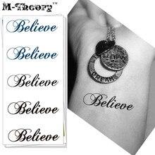 M-Theory Temporary Fake Tattoos Body Arts Words Flash Tattoos Sticker 10.5x6cm Henna Tatto Bikini Swimsuit Dress Makeup Tools