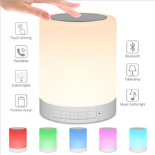 Night Light with Bluetooth Speaker, Portable Wireless Bluetooth Speaker Touch Control Color LED Bedside Table Lamp цена и фото
