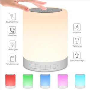 Image 1 - Đèn ngủ có Loa Bluetooth Di Động Không Dây Bluetooth Điều Khiển Cảm Ứng ĐÈN LED Màu Đầu Giường Đèn