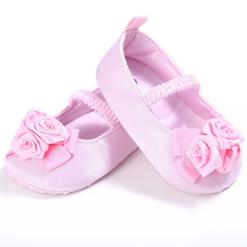 New Spring Girls Newnorn Kids Vintage Rose Flower Solid Color Princess Non-slip Soft Bottom Cack Shoes P1