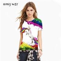Tshirt Women T Shirt Camiseta Mujer Woman Fashion Tops Tee Rainbow Pegasus Prints Tee Shirt Femme