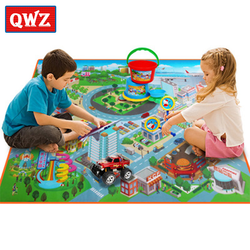 QWZ 120*90*0.4CM Baby Toys Traffic Map Play Mat Floor Early Education Toddler Crawling Mat Safety Kids Climbing Blanket For Kids ...