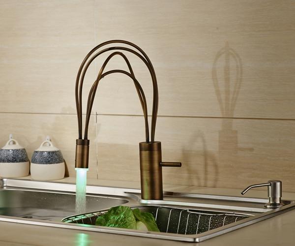 Bird Nest Design Led Antique Brass Kitchen Faucet Swivel Spout