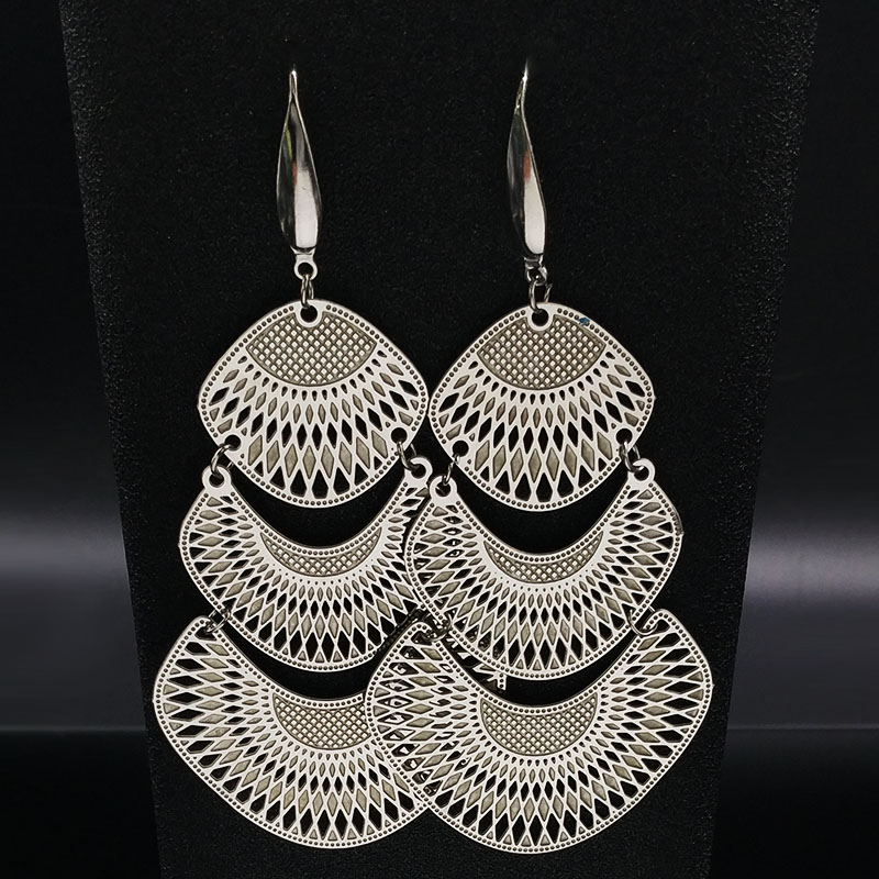 2020 Fashion Silver Color Stainless Steel Statement Earrings for Women Big Long Ethnic Earrings Jewelry aretes de mujer E1583S02