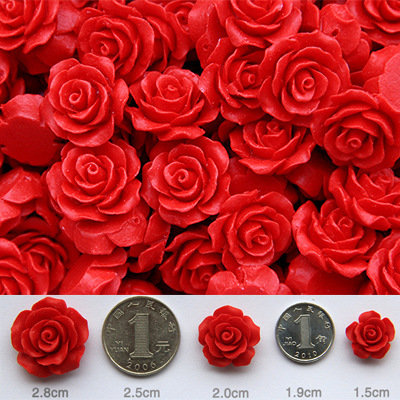 10pcs Cinnabar Red Paint Carved Roses Bead Natural Ore Lacquer Carving Small Pendant Bracelet Jewelry
