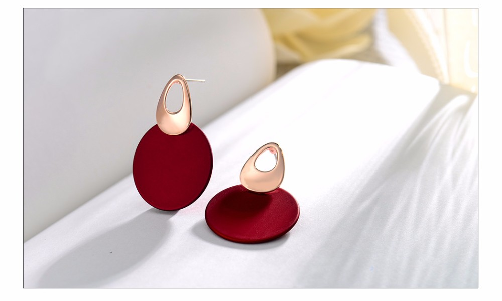 Viennois Fashion Jewelry Blue & Red Dangle Earrings for Woman Rose Gold Color Earrings Trendy Long Round Earrings 8