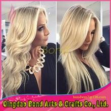 Aliexpress hair 613# Full Lace Wig Blonde Vrigin Brazilian Hair Silky Straight/Body Wave Blonde Human Hair Wigs