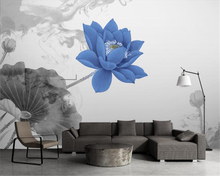 beibehang Personality decorative painting wallpaper new Chinese artistic conception watercolor lotus TV background 3d