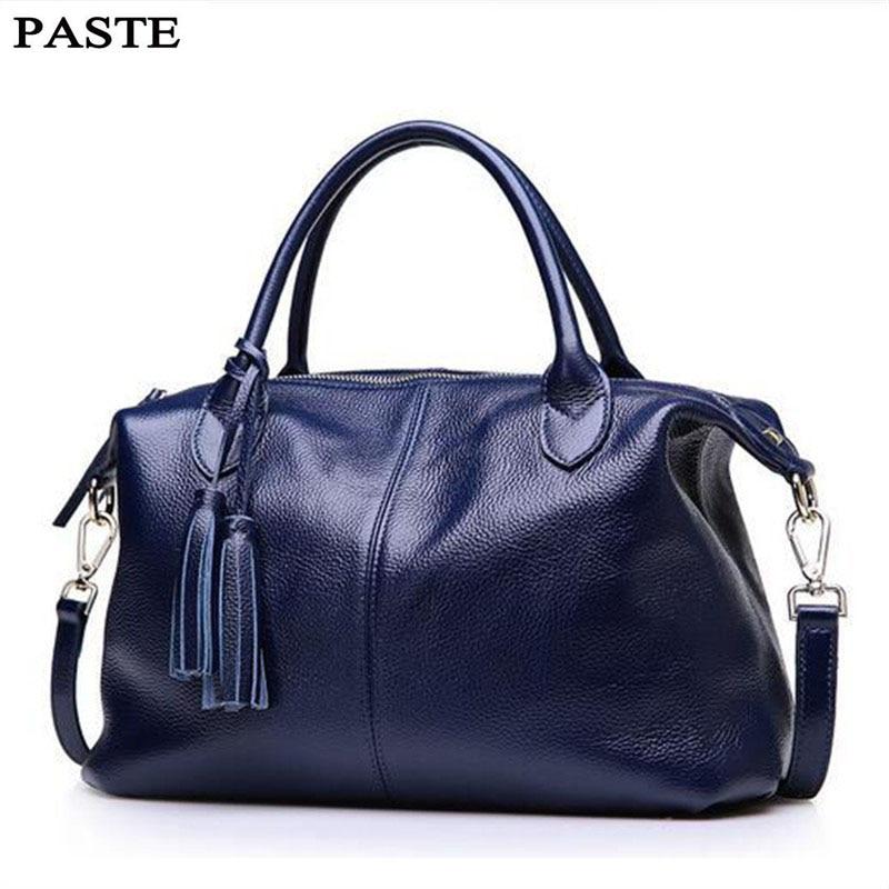 PASTE Women Bag Leather Handbags Fashion Shoulder Bag Tassel Genuine Leather Crossbody Bags Brand Women Messenger Bags