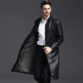 M-3XL!!2018 autumn  the long leather coat of leather coat of the leather coat of the han edition of the cape fur coat