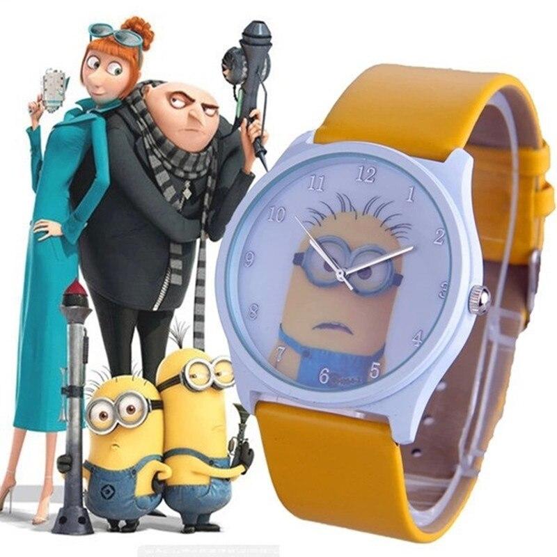 montres New Fashion Cute Cartoon Children Watch Casual Despicable Me Minions Quartz Leather Strap Watches Women Sport Wristwatch