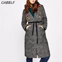Hot sales Women's Winter Coat Embroidery Long female coat fashion Plaid lapel Slim Coat YUP8195