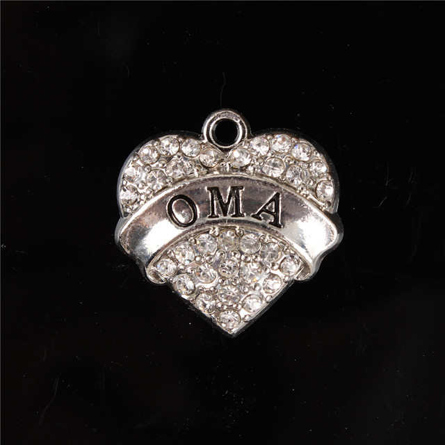 New OMA Love Heart Clear Crystal Charms Dangle Pendant Fitting DIY Necklace Bracelet Chain Party Birthday Jewelry Creative Gift