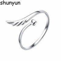 Shunyun Trendy 925 Sterling Silver Wings Feather Open Love Heart Rings Birthday Gift for Women Girls Wedding Jewelry