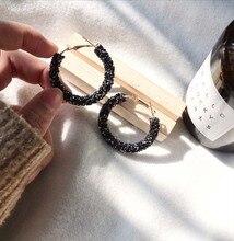 Round Shiny Rhinestone Gold Drop Earrings for Women Girl Simple Geometric Austrian Crystal Big Earring Jewelry