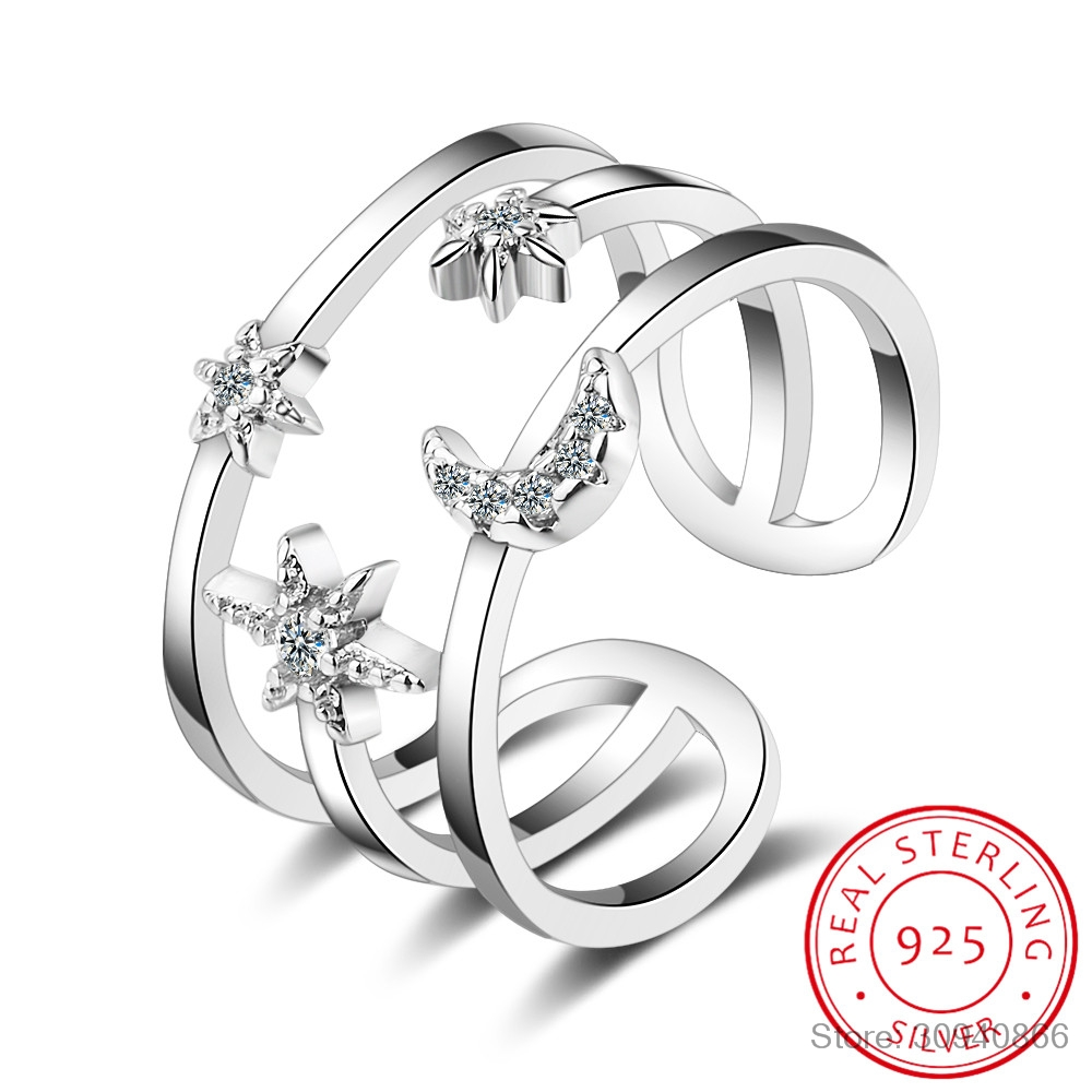 100% Real Pure 925 Sterling Silver Crystal Moon Star Double Layer Rings For Women Ladies Statement Jewelry Wedding Finger Ring