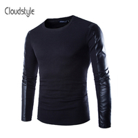 Cloudstyle camiseta 2018 de los hombres de la manera PU de cuero de manga larga Balck camiseta hombres moto y Biker estilo fresco diseño delgado ajuste