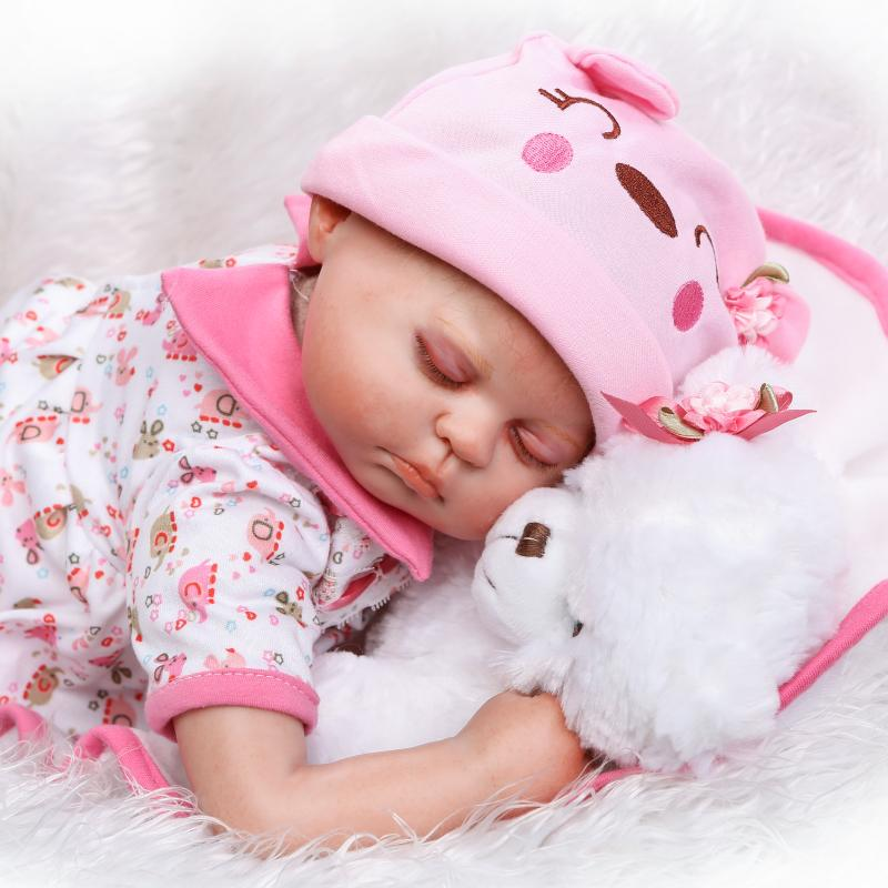 50cm Silicone Reborn Sleeping Baby Doll Toy With Bear Princess Newborn Babies Toddler Doll Birthday Gift Xmas Present 55cm silicone reborn baby doll toy lifelike newborn toddler princess babies doll with bear girls bonecas birthday gift present