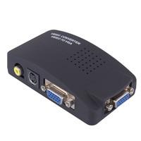 Mini AV to VGA Adapter Video TV RCA Composite S Video AV In To PC VGA LCD Out Converter Adapter Switch Box