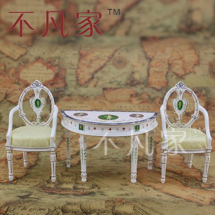 1/12 échelle Dollhouse Miniature meubles de haute qualité peint à la main ornement table et 2 chaises