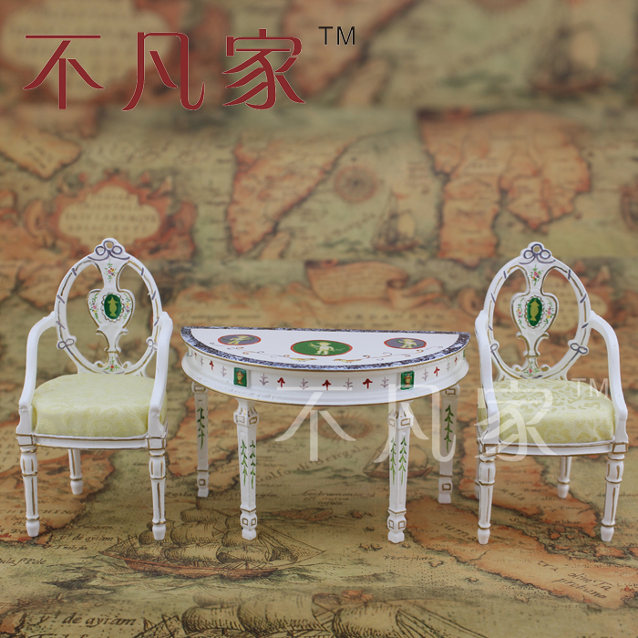 1/12 Scale Dollhouse Miniature Furniture High quality Hand painted ornate table and 2 chairs niklen скатерть кружевная из пвх 137х137 см белый gzy2xo2