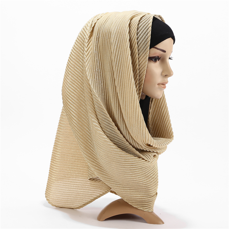 New Long Size Women Wrinkle Crinkle Bubble Shinny Scarf Muslim Hijab Scarf Turban Head Wrap Solid