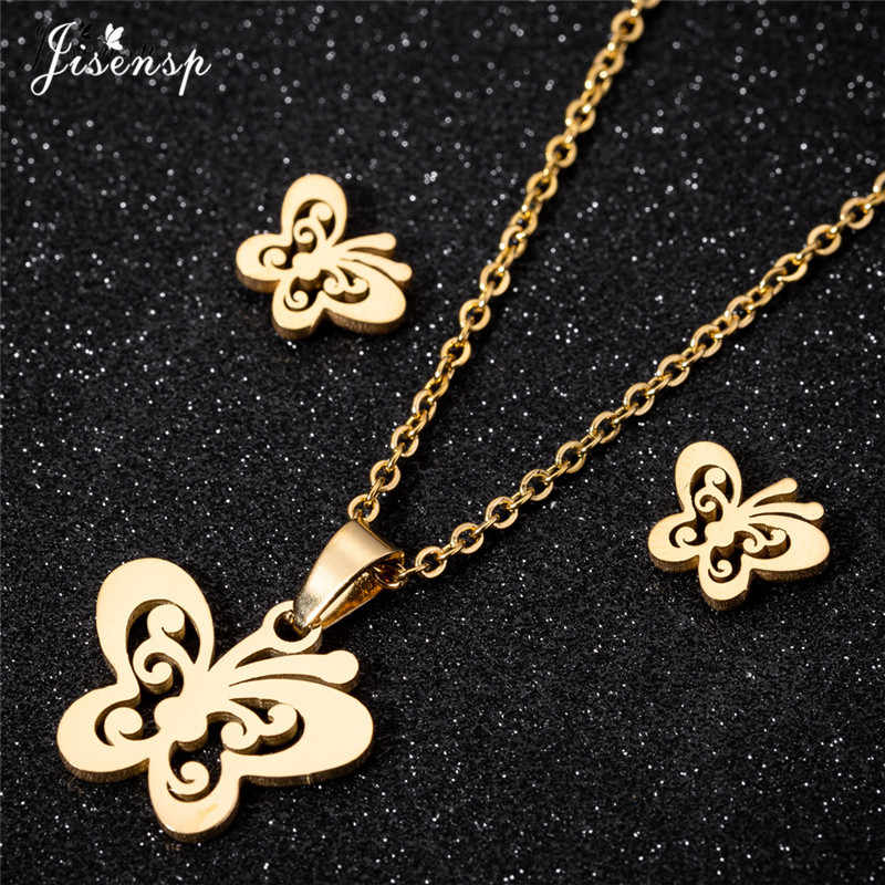 Jisensp New Hollow Butterfly Necklace Women's Jewelry Sets Bijoux Animal Necklaces & Pendants Cute Earrings Kids New Year Gifts