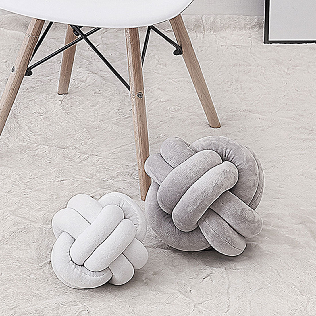 Colorful Warm Nordic Style Pillow Cushion Ball Knot Pillow Solid Color Baby Calm Sleep Dolls Stuffed Kid Adult Bedroom Decor