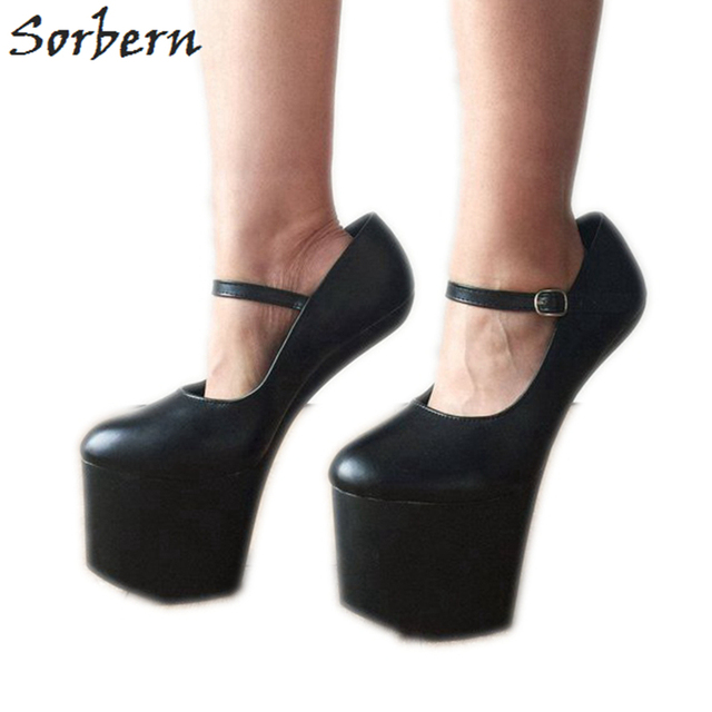 Sorbern Black Matte Mary Janes Women Pumps Hoof Heelless Shoes Platform Heels Lady Shoe Sexy Fetish Shoes New Custom Color Women S Pumps Aliexpress