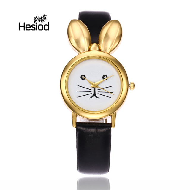 Hesiod Cute Design Gold Silver Rabbit Watch for Kids Cartoon Cute Wristwatches f