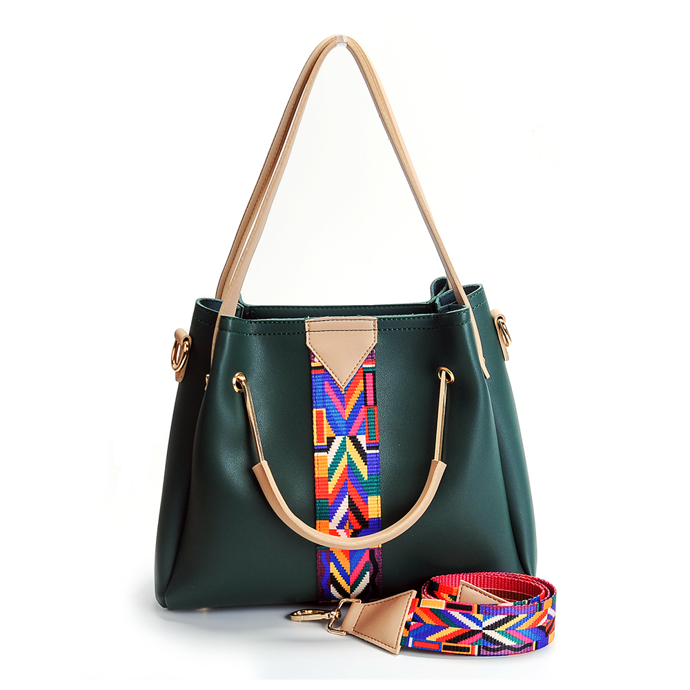 PU Faux Leather Women Shoulder Bag with Colorful Ribbon Strap Metal handle DOM568