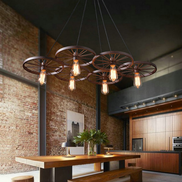 Lovely Design American Industrial Vintage Bike Wheel Pendant Lamp Back  Color Or Rust Color Coffee Bar