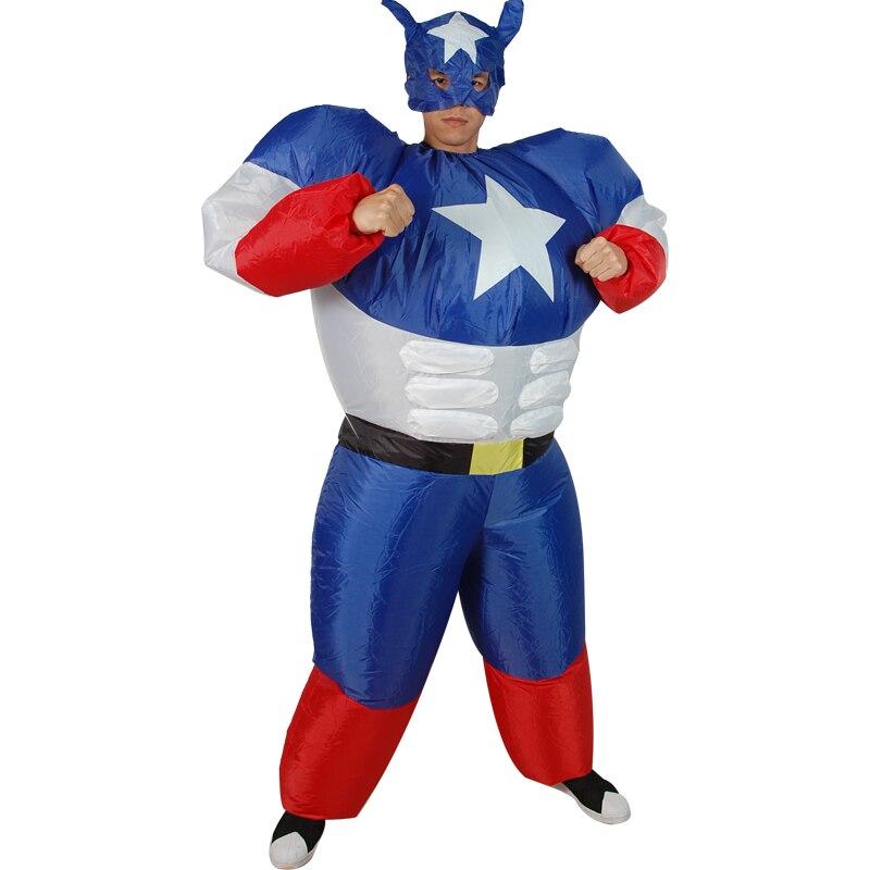 Взрослых праздник вечерние Надувные Супермен костюмы «Капитан Америка» костюм маскарад Вечерние развлекательные шоу одежда