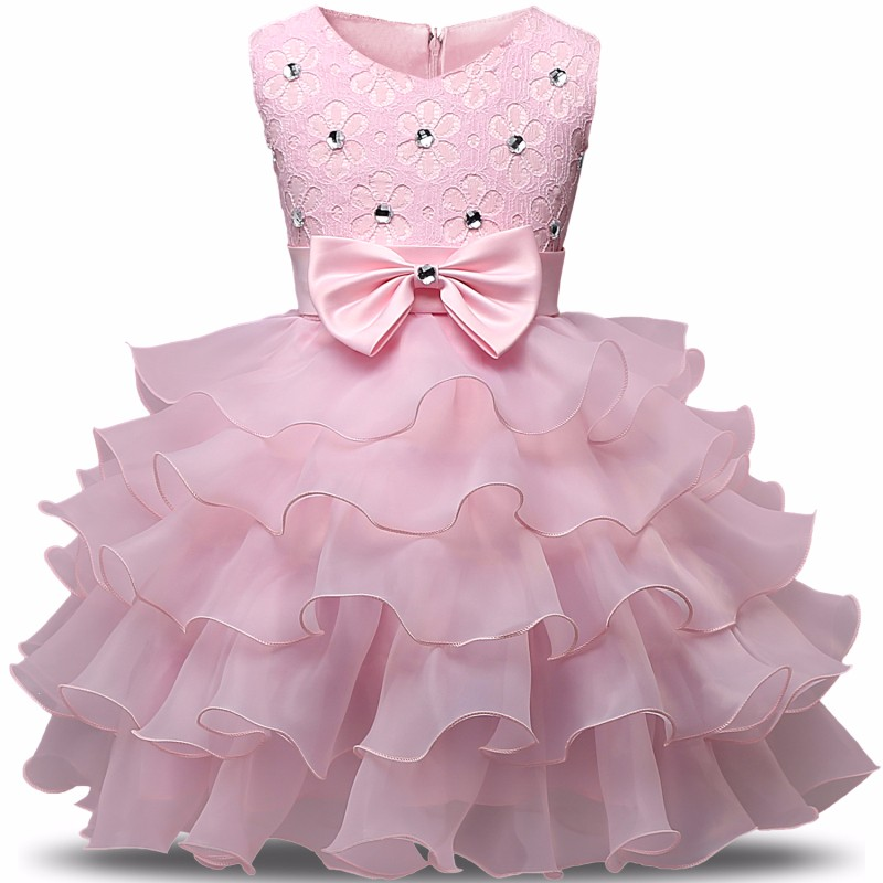2018 Flower Girl Dress Princess Tutu Wedding Dresses for Girls Elegant Kids Party Wear Ceremonies Birthday Baptism Cake Dress new 2018 flower girl party dress baby birthday tutu dresses for girls lace baby vest baptism dresses pearls kids wedding dress
