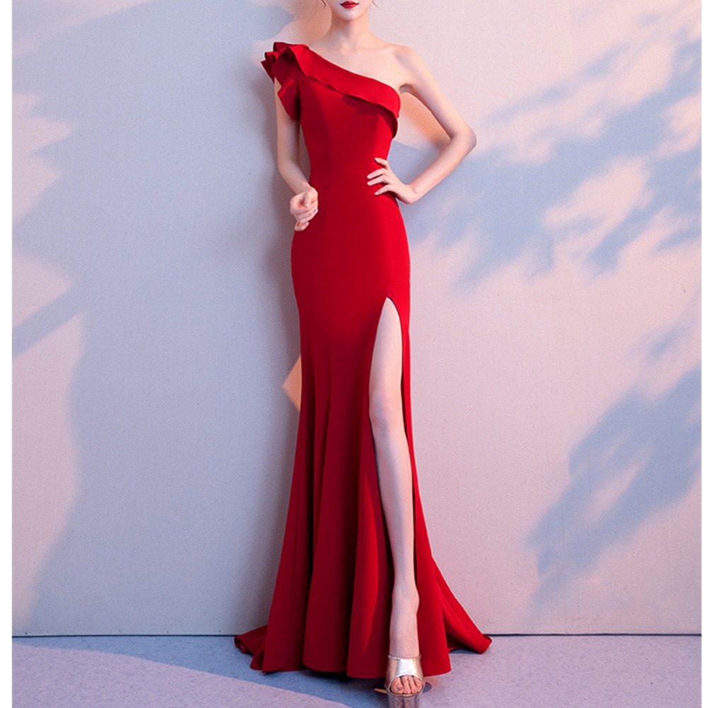 JIROFA 2019 Women Sexy Bodycon Off Shoulder Female Ruffles Backless Elegant Party Vestidos Verano Elegant Red