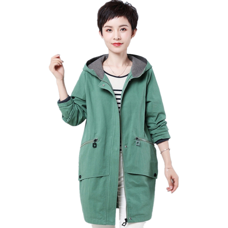 2019 New Arrival Spring 100% Cotton Long Trench Coat For Women Fashion Green Ladies Outerwear Plus Size 4xl Female Overcoat Tops
