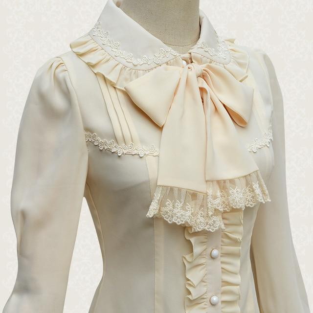 a7aa04359a4c Beautiful Women s Detachable Big Bow Tie Lolita Blouse Long Sleeve Ruffles  Trim Cute Chiffon Shirt Color Whie