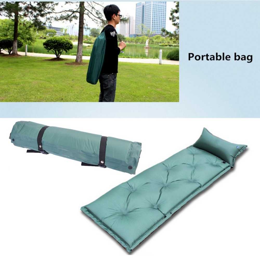 Hot Self Inflating Camping Roll Mat/Pad Sleeping Bed Inflatable Pillow Mattress with pillow wild outdoor naturehike self inflating sleeping pad with attached pillow compact lightweight air mattress for camping hiking