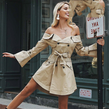 CUERLY Sexy off shoulder trench dress women Elegant khaki outerwear Double breast sash casual autumn winter jacket female