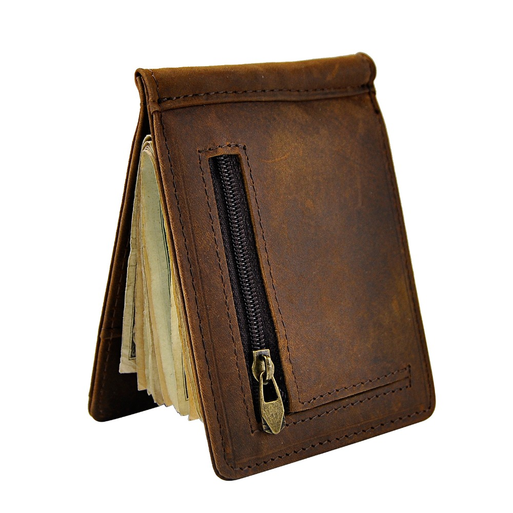 Male Genuine Leather Design Fashion Slim Wallet Front Pocket Money Clip Mini Purse For Men 1098