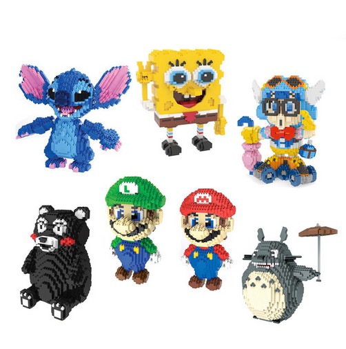 Mini Magic Blocks Kumamon Totoro Stitch Micro Models Super Mario DIY Building Toy for chilren Figures Kids Gifts child indoor
